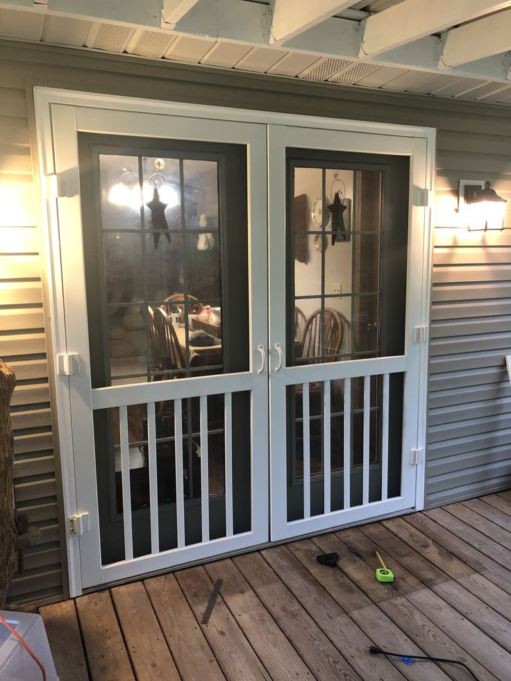 Two screen doors for our French doors. Do it yourself. # ...