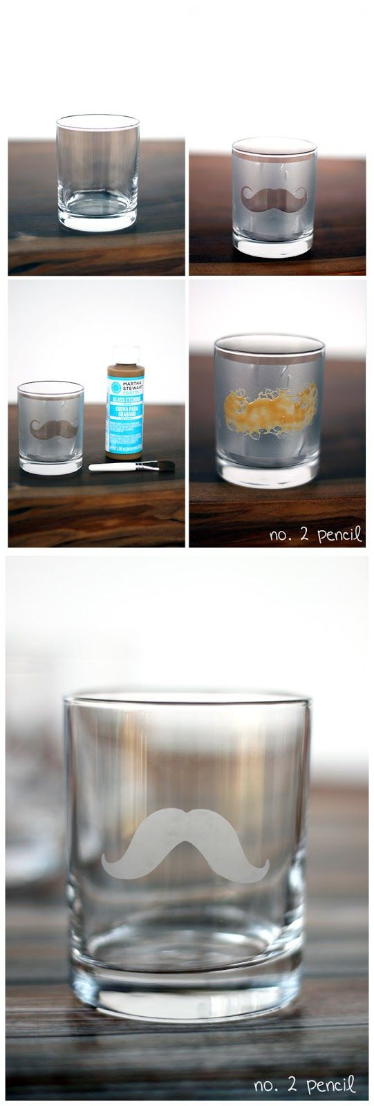 DIY Mustache Glass with Martha Stewart Glass Etching Cream. You can make votive candle holders, party favors to take home, glasses for the party, vases for flowers, just about anything glass can be transformed to match your mustache theme.