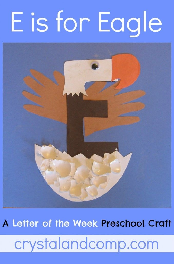 Letter E craft: E is for Eagle and Egg - I love this very creative craft idea for the letter E (printable pattern)- for forest animals