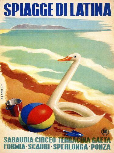 Duck Beach Spiagge Di Latina Italia Italy Tourism Vintage Poster