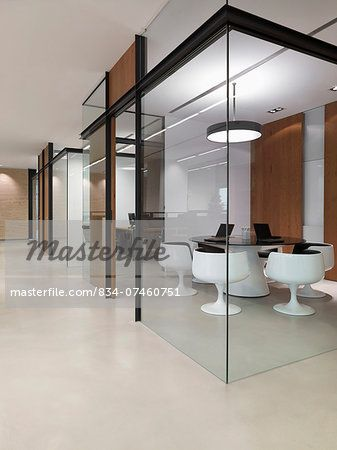 View Of Small Meeting Room Through Glass Walls In Modern