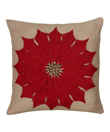 Loving this Red Poinsettia Jute Throw Pillow on #zulily! #zulilyfinds