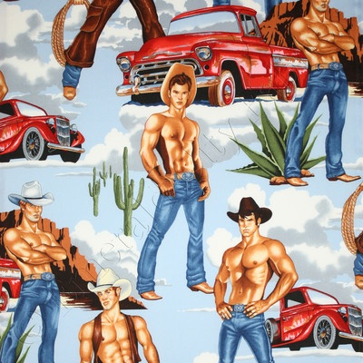 Alexander Henry Wranglers Sexy Western Cowboy Novelty Pinup Men Quilt Fabric