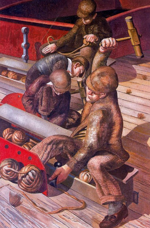 Stanley Spencer, (English painter, 1891 – 1959) Workmen in the House 1935  It's…