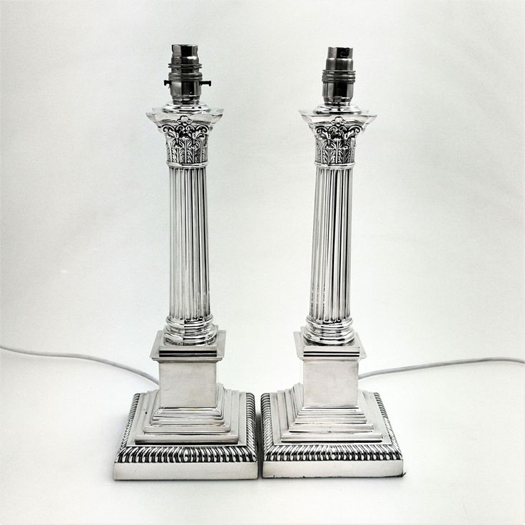 PAIR ANTIQUE STERLING SILVER TABLE LAMP BASES 1912
