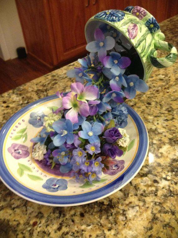 Floating Teacup Floral Arrangement by SantasSecretShop on Etsy