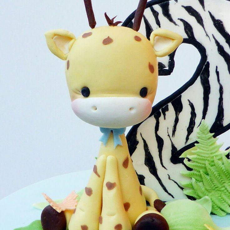 Little giraffe cake topper for a fun 2nd birthday cake