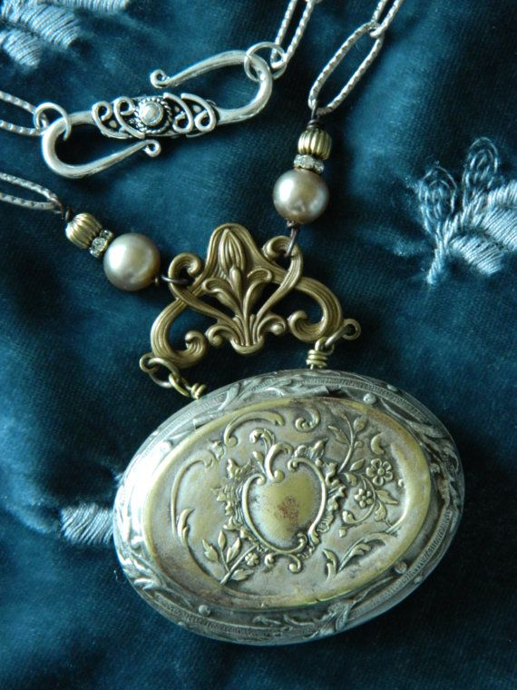 Rosary Locket Repousse Assemblage Necklace by by 58Diamond on Etsy