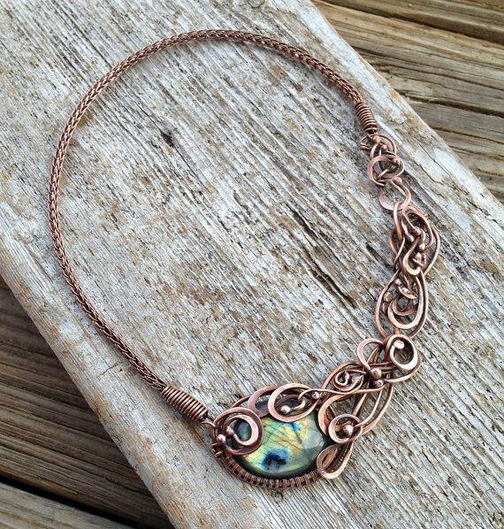 Labradorite Cassandra Copper Viking Knit by MandatoJewelryDesign, $78.00