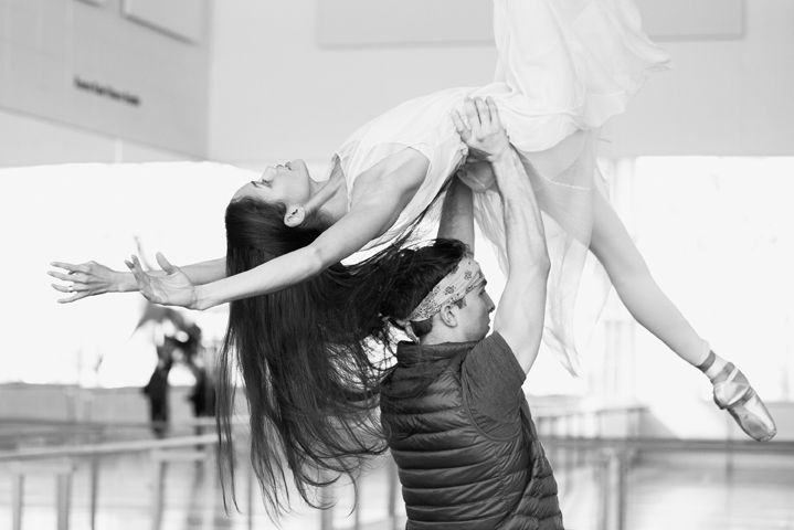 First Soloists Tanya Howard and Dylan Tedaldi rehearse their roles of La Rose and Le Petit Prince. Photo by Karolina Kuras.