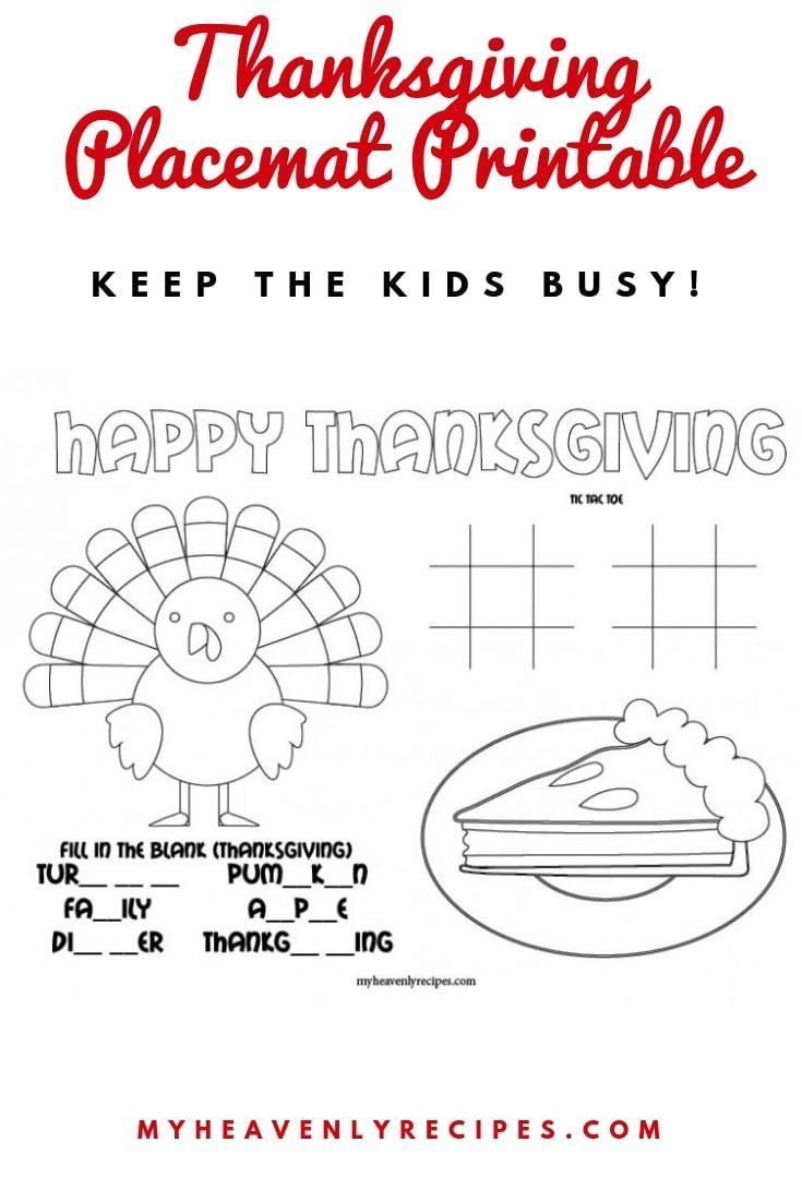 Thanksgiving Placemat Printable Thanksgiving Placemats Business For Kids Thanksgiving