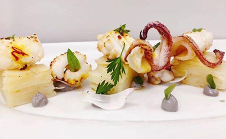 Καλαμάρι με πατάτες φούρνου και μαγιονέζα με μελάνι σουπιάς- Από τον Σεφ Γιώργο Κεντριστάκη