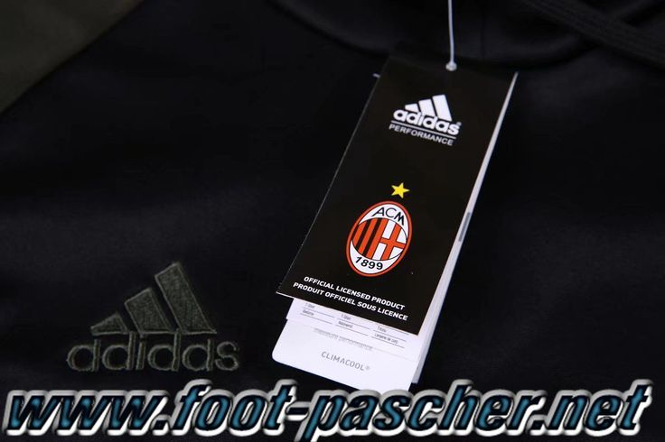 Magasin Sweat Capuche Survetement Adidas Homme Pas Cher Milan AC Noir/Gris 2016/2017 Ensemble Discount