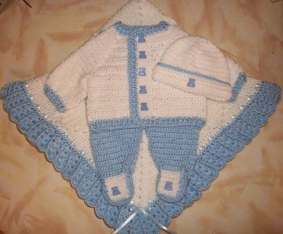 Baby Boy Layette Crochet Free | Crochet Baby Boy Sweater Set Layette With Leggings Perfect Shower Gift ...