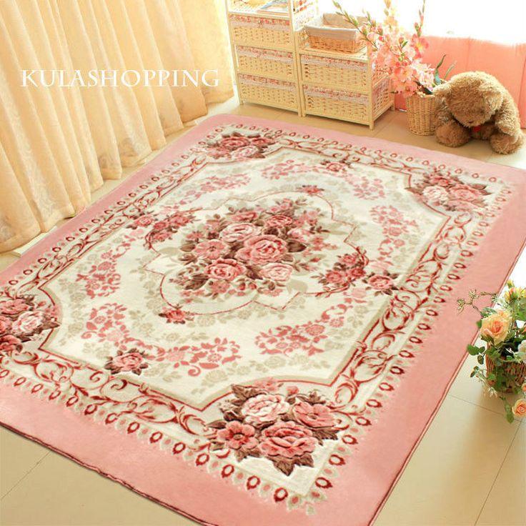 Pink European Rose Floral Floor Mat Rug Carpet Victorian Style: