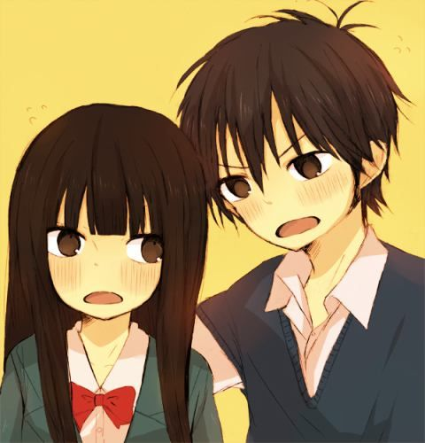 "This chibi is based off the anime ""Kimi ni Todoke."" This anime chibi picture is of Shota Kazehaya and Sawako Kuronuma."