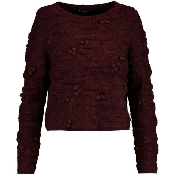 RAOUL  Pompom-embellished textured-knit sweater (2,895 EGP) ❤ liked on Polyvore featuring tops, sweaters, textured knit sweater, pom pom tops, pom pom sweaters, burgundy top and embellished top
