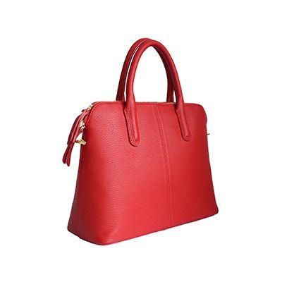 Serafina Italian Red Leather Dome Handbag - £54.99