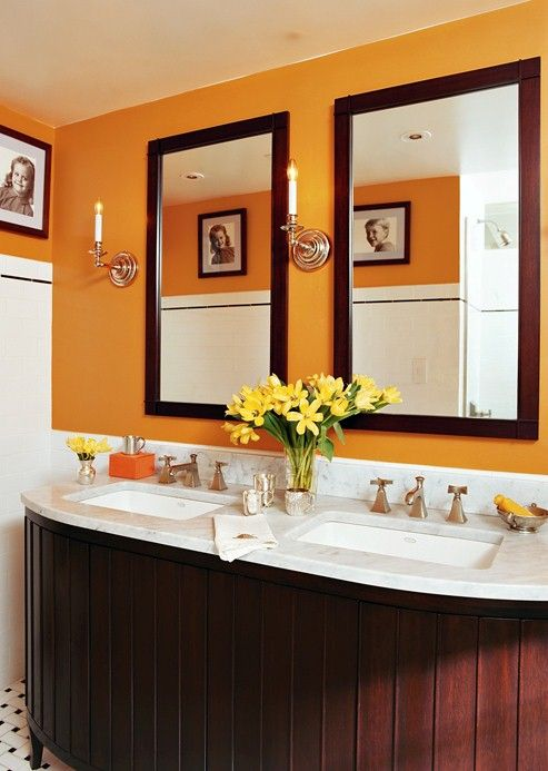 if you want to experiment with bold colours try a small space like a bathroom bright bathroomssmall bathroomsbathrooms decororange - Bathroom Ideas Orange