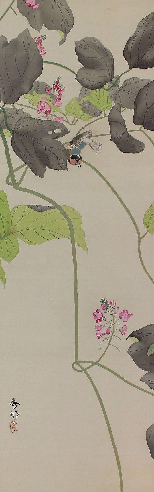 Bird and Flower. Japanese hanging scroll painting kakejiku.
