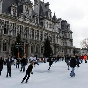 """Every winter, ice skate for FREE in Paris at rinks around town including the grand Hotel de Ville (skates available for a modest rental).  Click on the photo for locations, hours and conditions or search paris.fr for """"patinoire"""" ."""