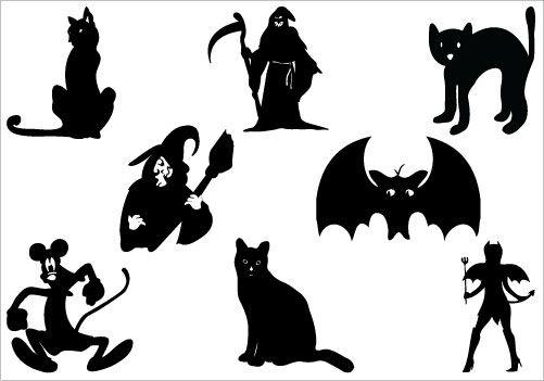 Silhouette Clip art- Halloween Vector Graphics.
