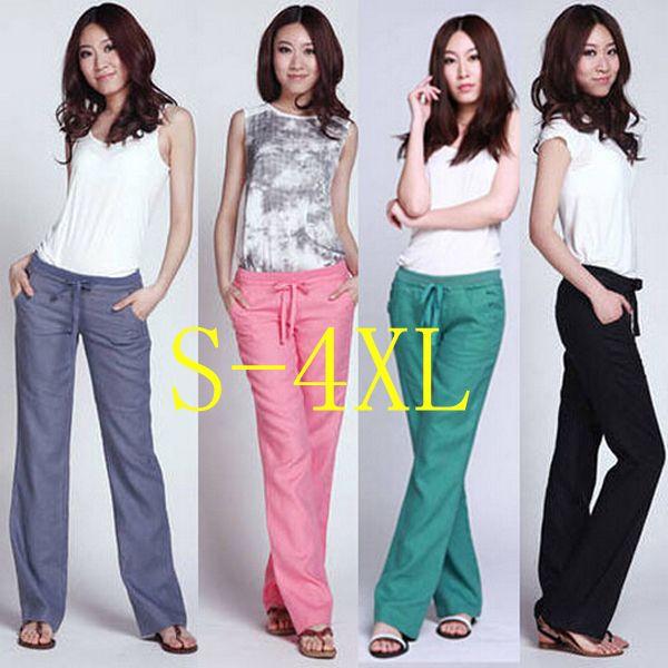 Брюки женские брюки белье плюс размер женщины одежда брюки женские широкого покроя Упругие Талии брюки женские свободные жира WJ011