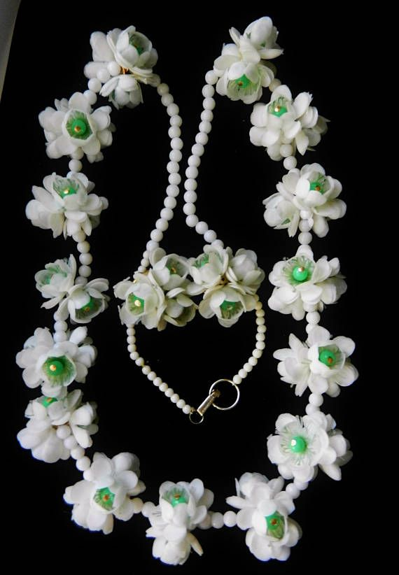 Clusters of white plastic roses &  lucite beads Rare Honk
