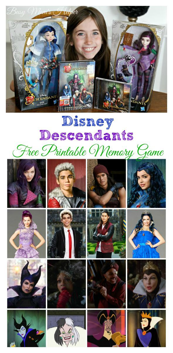 disneys descendants free printable memory game - Free Disney Games For 4 Year Olds