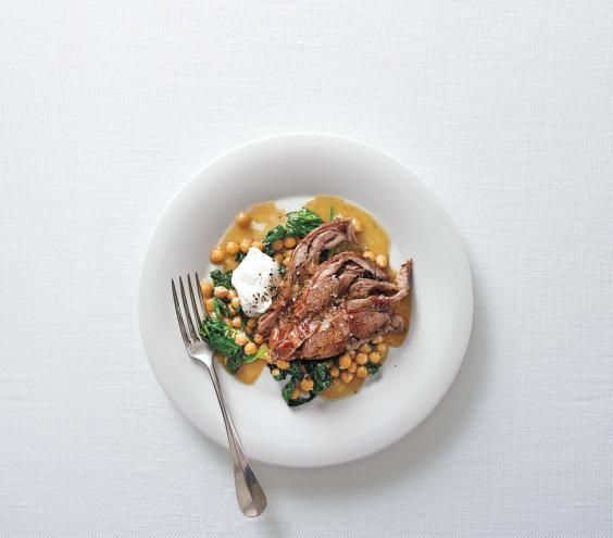 Slow-Cooker Lamb Roast with Spinach and Chickpeas. Loved this one!