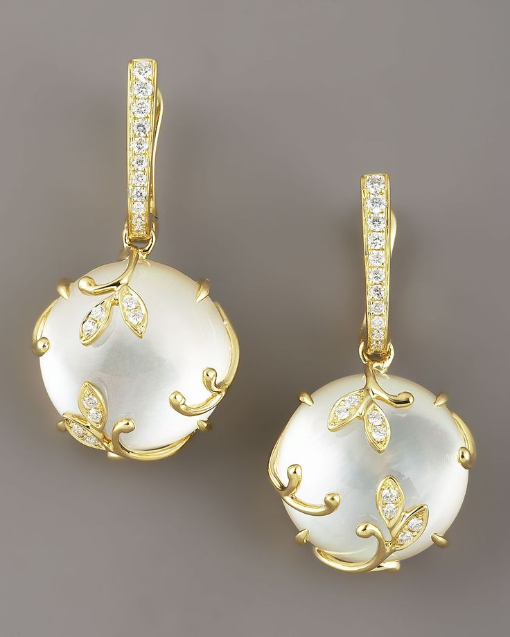 Vine Mother-of-Pearl Earrings set in 18k gold with pave white diamonds (Neiman Marcus)