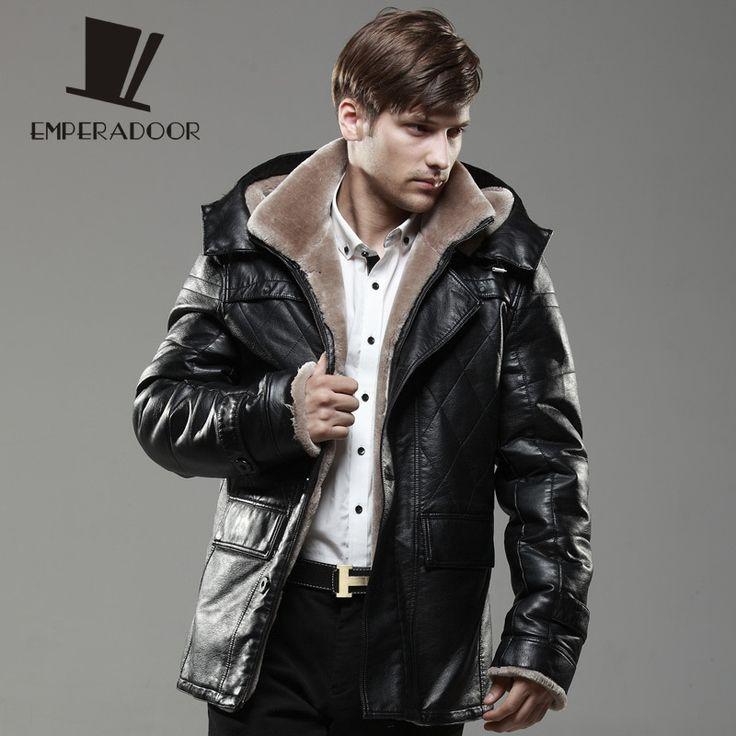 Кожаная куртка мужчины зимняя мода с капюшоном искусственной кожи толстые теплые длинный плащ хлопка-ватник мужские кожаные куртки и пальто м-5xl