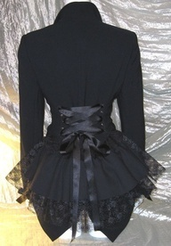 This can be easily done with a thrift store black jacket, some grommets, lace and ribbon.  Pretty.