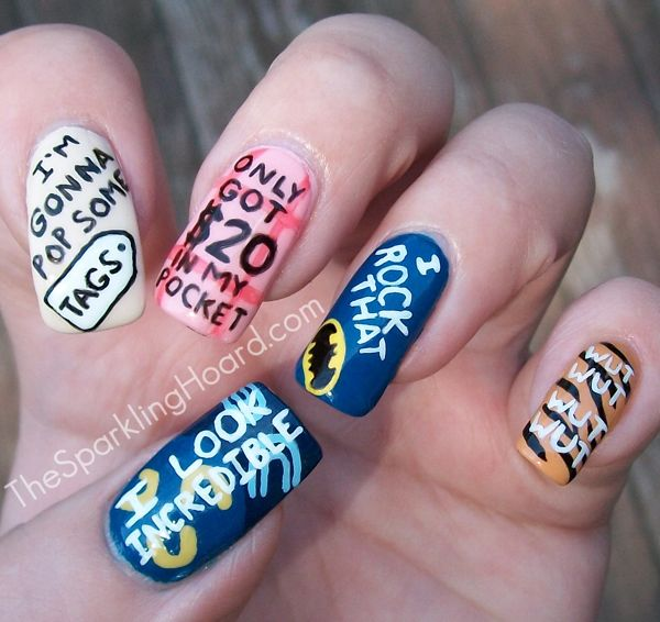 The Sparkling Hoard: It's National Thrift Shop Day! Song-Inspired Nail Art