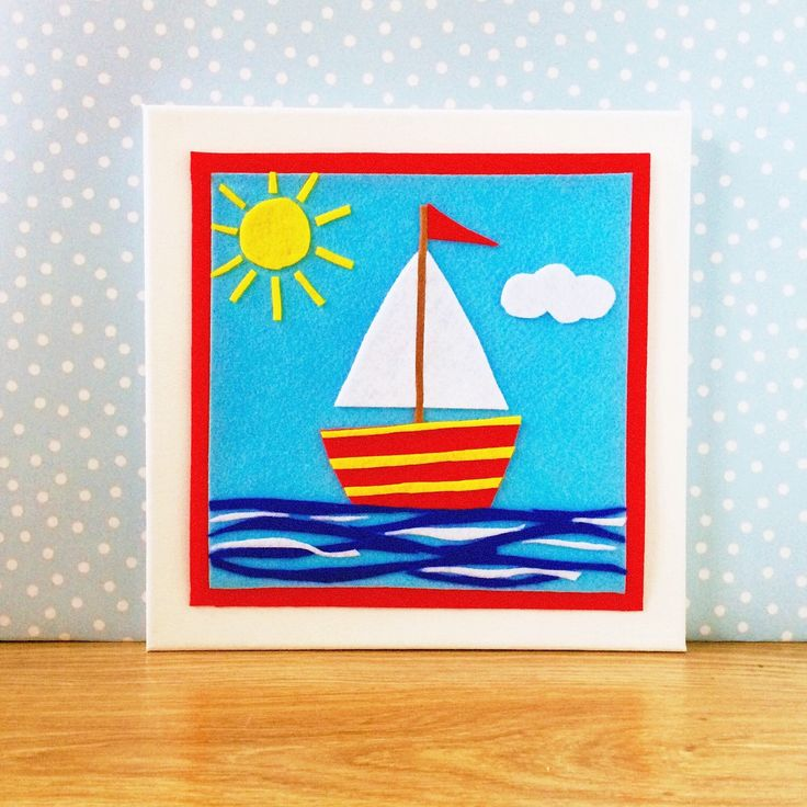Felt sail boat picture for kids bedroom, this bold colourful artwork will look great in your child's nursery https://www.etsy.com/uk/listing/268303488/bright-colourful-fun-sail-boat-picture