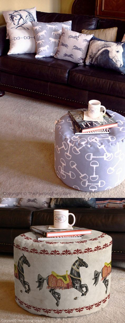 Equestrian Home Decor - ottoman pouf foot stool etc. - cute and stylish horse lover themed fabrics and patterns with horses, snaffle bits, and more. Anyone who loves horses, ponies, and horseback riding sport like hunter jumper and dressage will love these in their living room, bedroom, or even in the barn tack room!