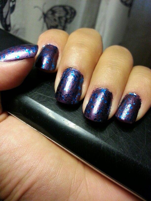 Purple base and blue polkadots.