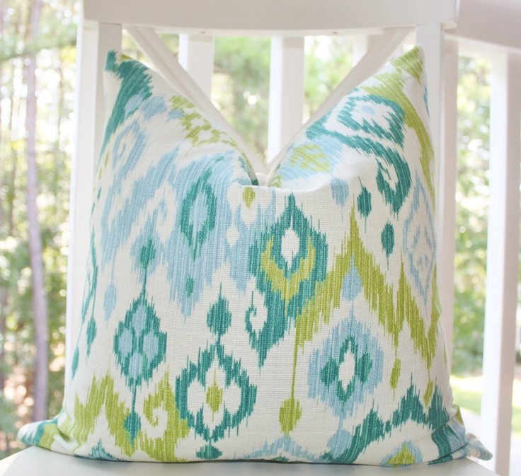Decorative Pillow Ikat Baby Blue Turquoise Teal Chartreuse Green Ivory Designer Pillow Cover ...