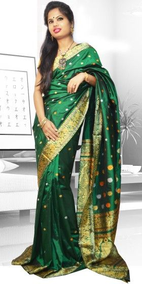 Beautiful Green colour Assam Silk Pat saree with artistic Suta Work giving a gorgeous look to the saree. This collection is perfect for any festive occasion. The Saree comes with matching blouse piece, the blouse shown in the image is just for display purpose.Slight colour variation may be there in display & actual.