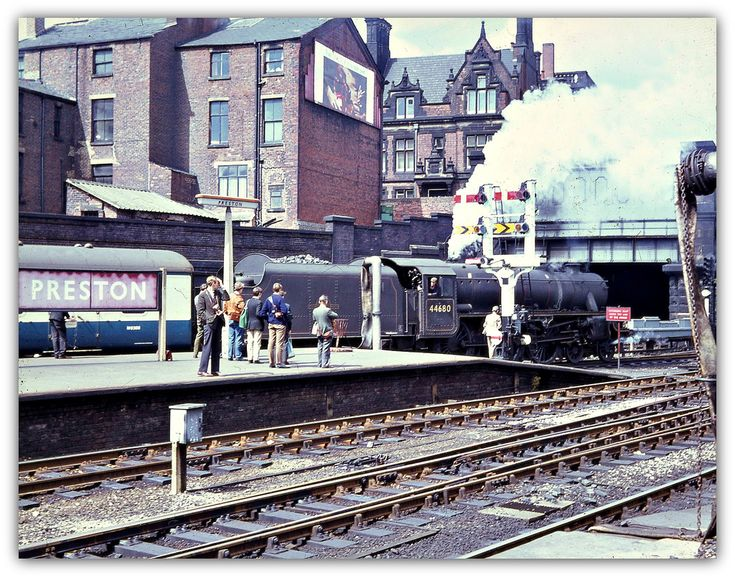 Preston Railway Station. August 5, 1967 4-6-0 No. 44680 waits at the north end of Platform 1 with Blackpool train.