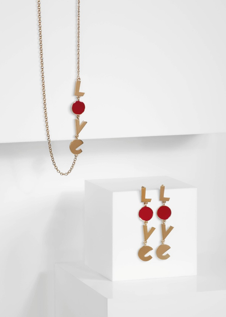 Paul Smith women's gold coloured 'Love' necklace and earrings