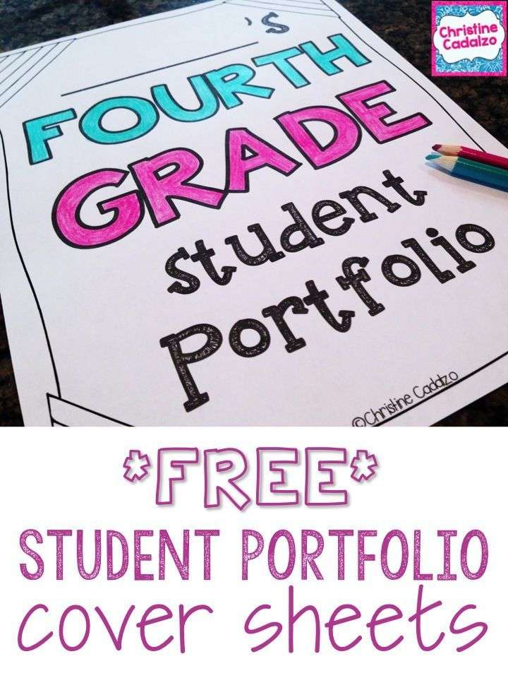 FREE!! Student portfolio cover sheets:  first grade, second grade, third grade, fourth grade, fifth grade