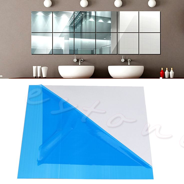 New 16Pcs Self Adhesive Mirror Tiles Wall Stickers High Gloss 15x15cm Room Home Art For TV background Home decor Wall Art