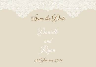 Lacey Love Save the Date Card in Bronze  - DreamDay Invitations