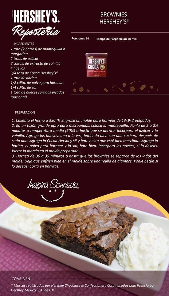 ¡Prepara esta deliciosa receta y participa en Hornea y Gana con Hershey's® Repostería! Puedes ganar increíbles kits de repostería. https://www.facebook.com/HersheysReposteria/app_190322544333196 #Hersheys #Chocolate #InspiraSonrisas #Repostería #Postres #Receta #DIY #Bakery #Brownies