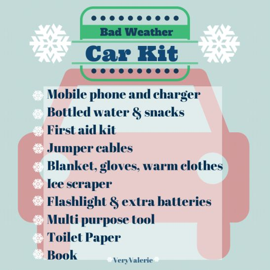 Bad Weather Car Kit | Build a box for the car in case of emergency! Water, first aid kit, snacks, blanket, ice scraper...etc. Be prepared. | @Valerie Uhlir |