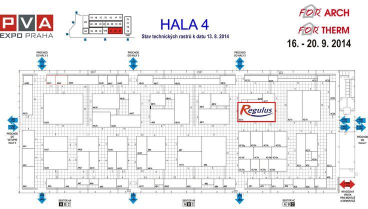 FOR THERM 2014 Naši expozici naleznete v Hale 4C 14 viz přiložený plánek.  Celkové rozmístění hal na Výstavišti: http://www.for-therm.cz/gfx/veletrhy/planek_FA14_b.pdf  http://www.regulus.cz/cz/126.for-therm-2014