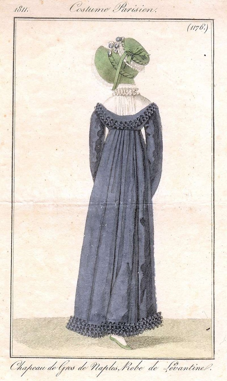 Back view of blue gown, 1811 An untamed nature scene with tree and rocks,