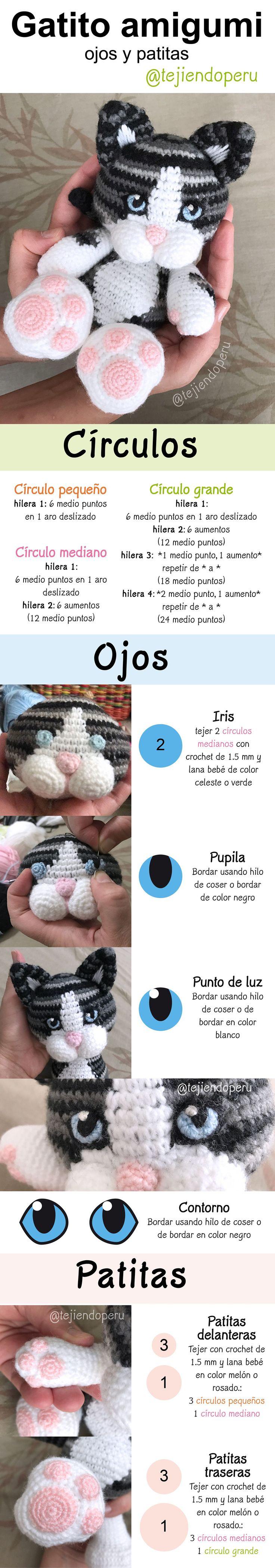 Gato amigurumi: detalle de los ojos y patitas! Paso a paso del gato en video tutorial
