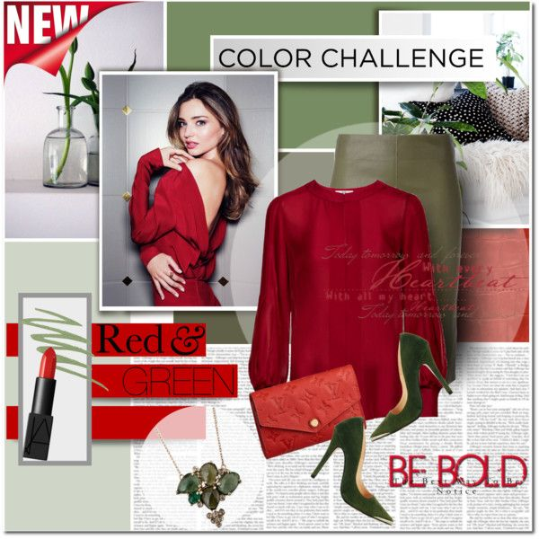 """""""color challenge: Red&green"""" by anna-anica on Polyvore"""